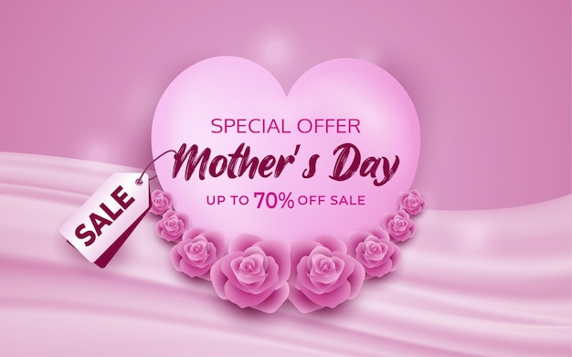 Mothers day special offer 50 off sale banner with white custom shape and pink tag label discount