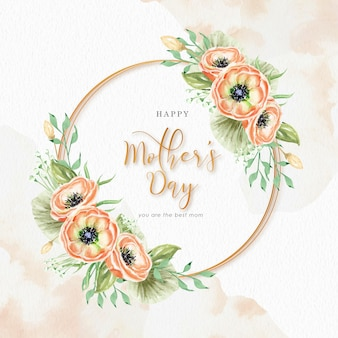 Mothers day with wreath florals and splash watercolor background