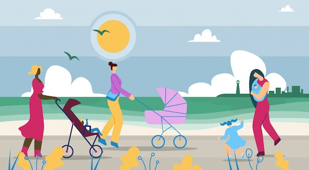 Mothers walk with children along coast cartoon.