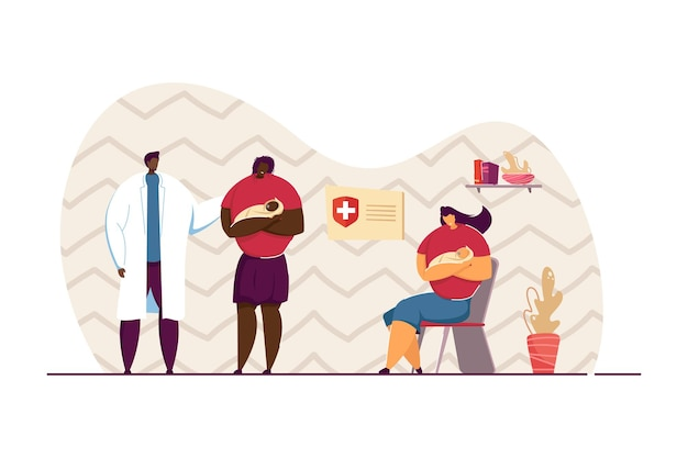 小児科医に相談する赤ちゃんを持つ母親。子供を抱いて、予定のフラットベクトルイラストを待っている女性。ヘルスケア、医学、バナーの子供のコンセプト、ウェブサイトのデザイン