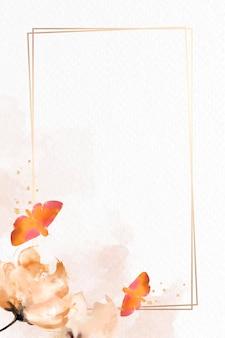 蛾と花の水彩フレーム