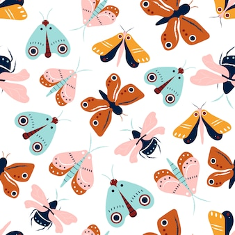 Moths and butterflies seamless pattern