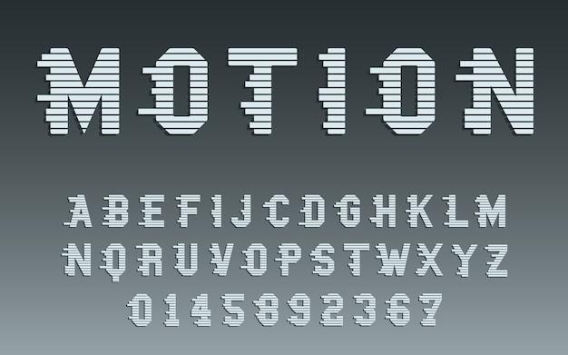 モーションアルファベットテンプレート。動きのタイポグラフィの文字と数字が設定されています。