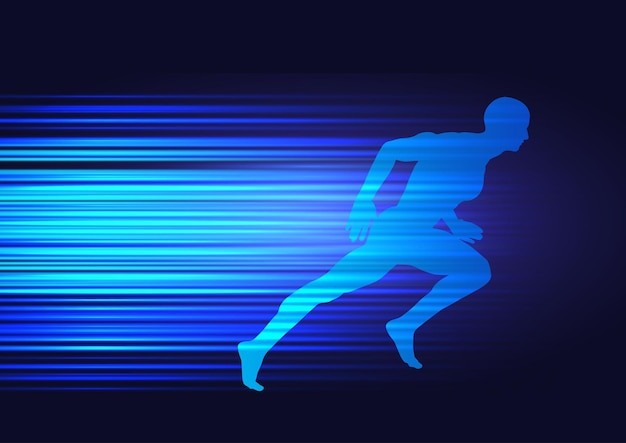 Motion background with silhouette of a male sprinting