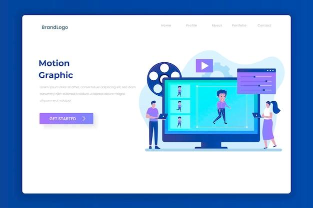 모션 그래픽 방문 페이지 그림 개념입니다. 웹 사이트, 방문 페이지, 모바일 응용 프로그램, 포스터 및 배너에 대한 그림입니다.