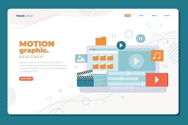 Motion graphics landing page flat design