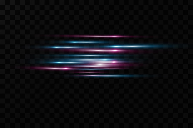 Motion light effect for banners. blue lines. the effect of speed on a blue background. red lines of light, speed and movement.  lens flare.