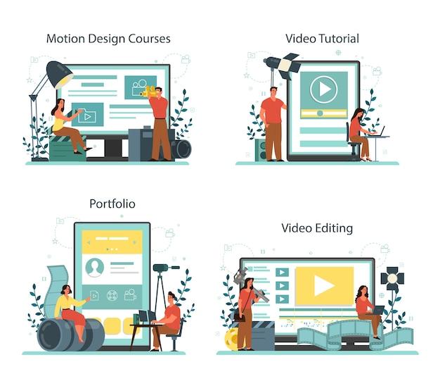 모션 또는 비디오 디자이너 온라인 서비스 또는 플랫폼 세트. 애니메이션 편집기, 만화 제작. 온라인 비디오 편집, portfoliio, 코스, 튜토리얼. 벡터 일러스트 레이 션
