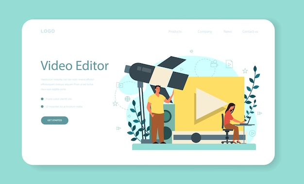 Анимационный или видео-дизайнер веб-баннер или целевая страница. художник создает компьютерную анимацию для мультимедийного проекта. редактор анимации, производство мультфильмов.