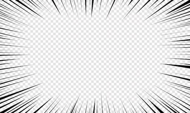 Motion radial lines background for comics. bright black white light streaks burst. flash beam glow. flying particles, graphic texture. explosion with speed lines.  illustration, .