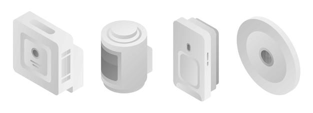 Motion sensor icons set, isometric style