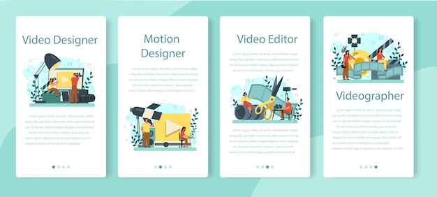 Motion or video designer mobile application banner set.