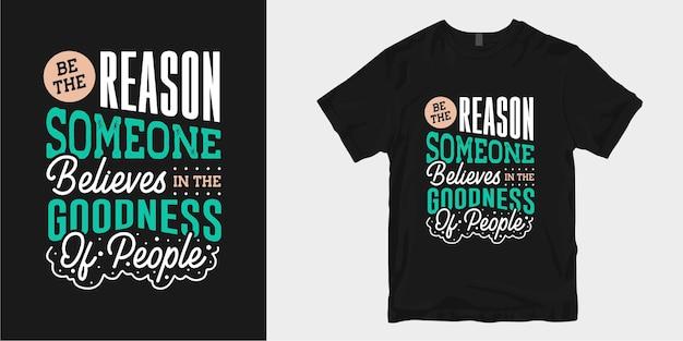 Дизайн футболки «мотивировать и вдохновлять добротой» цитирует типографику слогана