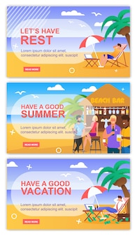 Motivate for relax and recreation header banner set. inspiration phrase and wish with place for advertising text.
