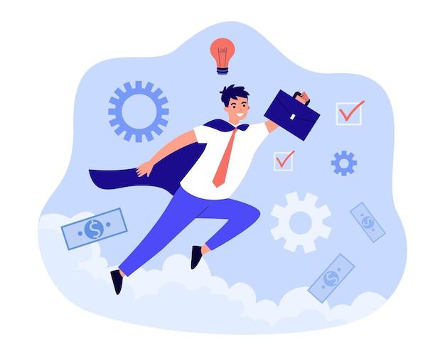 슈퍼히어로처럼 하늘을 나는 의욕적인 직원. 비즈니스 성공을 위해 노력하는 행복한 사업가. 목표 달성, 혁신, 획기적인 개념. 만화 평면 벡터 일러스트 레이 션.