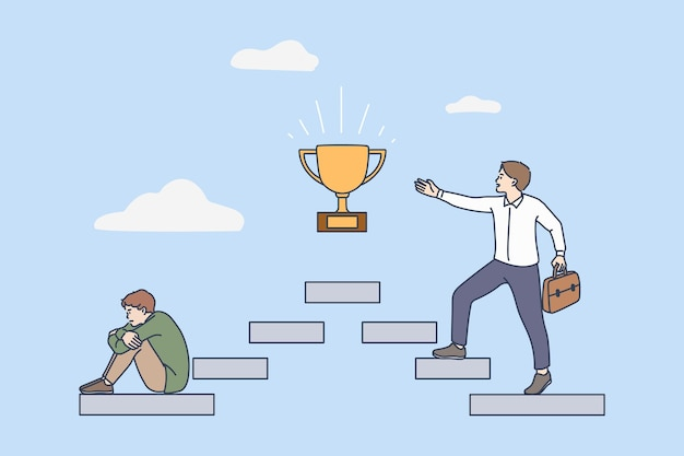 Motivated man on career steps to goal achievement