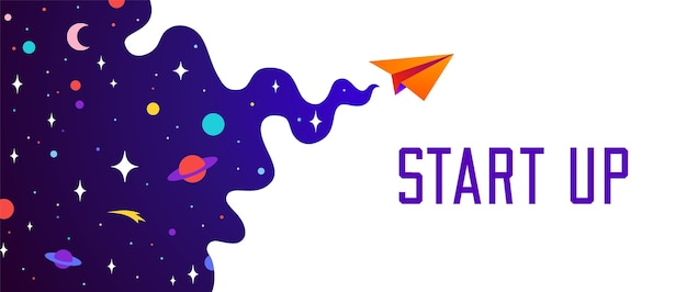 Motivation banner with universe cloud, dark cosmos, planet, stars and paper plane, start up symbol.