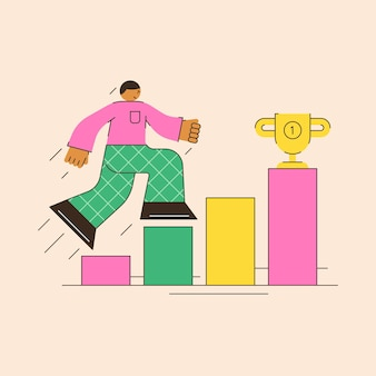 Motivation climb the ladder to success desire to achieve your goals abstract illustration of motivation in a minimalistic flat style