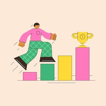 동기 부여는 최소한의 평면 스타일로 동기 부여에 대한 추상적인 그림을 달성하기 위해 성공 욕구로 사다리를 올라갑니다.
