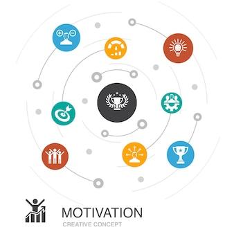 동기 부여는 간단한 아이콘이 있는 원형 개념입니다. 목표, 성과, 성취, 성공과 같은 요소를 포함합니다.
