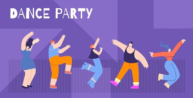 Motivation flat card text dance party concept