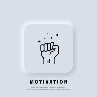 Motivation icon. fist up. success, strenght concept. fist of a man's hand. protest. vector. ui icon. neumorphic ui ux white user interface web button.