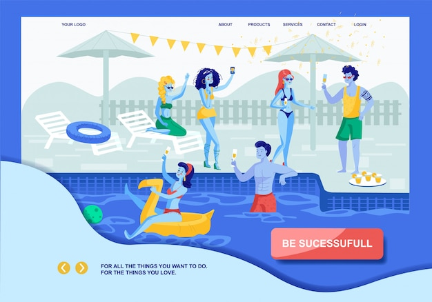 Motivation landing page offering successful life and desires accomplishment. vector cartoon prosperous rich happy people rest at pool party. leisure on villa