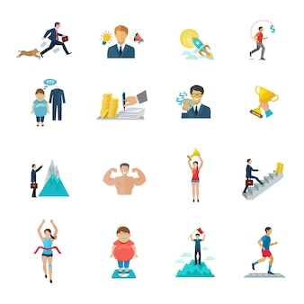 Motivation in office work and sport icons flat set