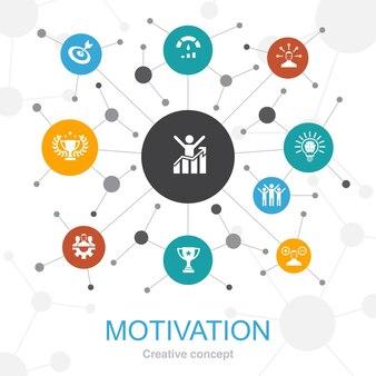 동기 부여 아이콘이 있는 최신 유행 웹 개념입니다. 목표, 성과, 성취, 성공과 같은 아이콘이 포함되어 있습니다.