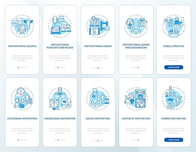 Motivational content onboarding mobile app page screen with concepts set. motivating for actions walkthrough 5 steps graphic instructions. ui  template with rgb color illustrations