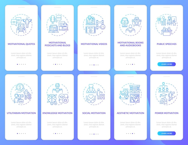 Motivational content onboarding mobile app page screen with concepts set