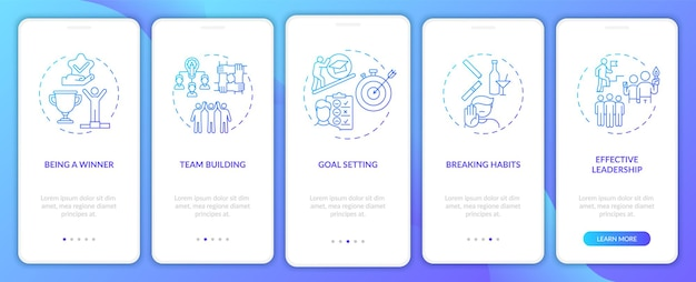 Motivational content types onboarding mobile app page screen with concepts