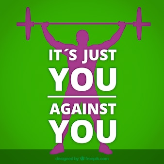 Motivational crossfit quote with green background