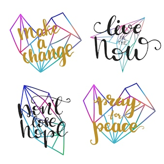 Motivational lettering designs. vector illustration.