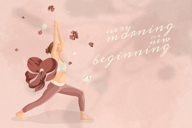 やる気を起こさせる引用編集可能なテンプレートベクトル健康とウェルネスヨガの女性ピンクの花のバナー