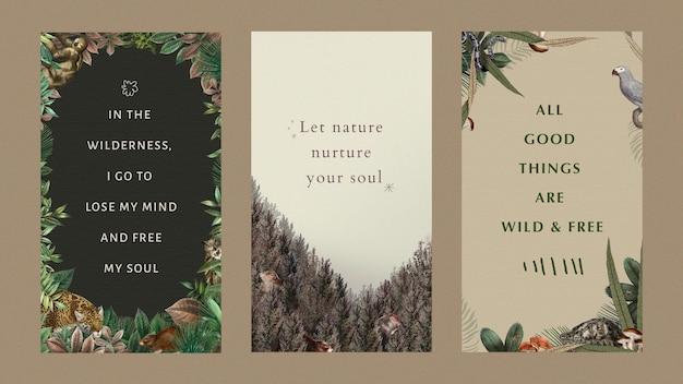 Motivational quote editable templates vector wildlife illustration