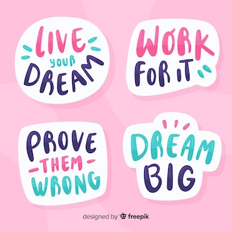 Motivational quote lettering stickers set