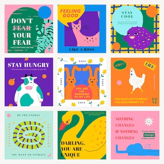 Motivational quote template  for social media post with cute animal illustration set