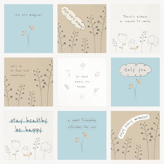 Motivational quote template on texture background set
