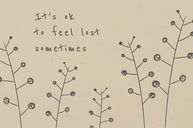 Motivational quote with doodle plant for social media post