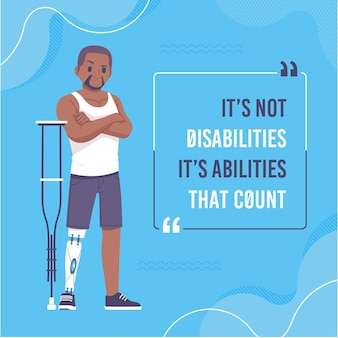 Motivational quotes with disabilities character illustration
