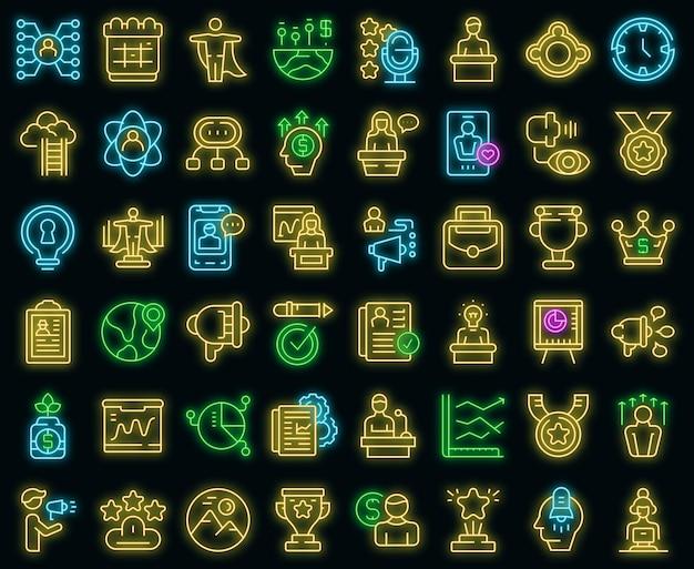 Motivational speaker icons set vector neon