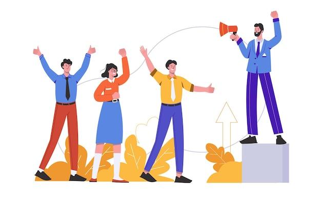 Мотивационный спикер с мегафоном обращается к людям с вдохновляющей речью. лидер на встрече, сцена изолирована. концепция мотивации и достижения карьерных целей. векторная иллюстрация в плоском минималистском дизайне