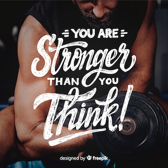 Motivational sport lettering with photo