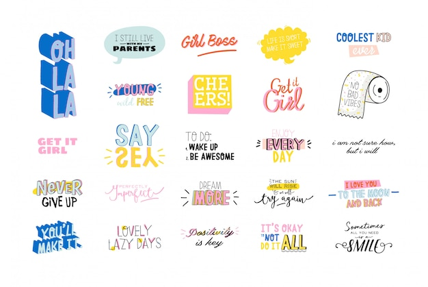 Motivational typography set of cool quotes. isolated on white. trendy and cute lettering.
