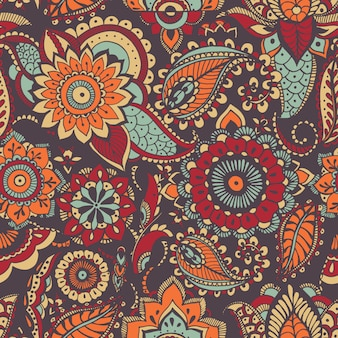 Motley oriental paisley pattern with colorful motif and mehndi elements