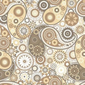 민속 부타 모티프가 있는 가지각색의 페이즐리 매끄러운 패턴입니다. 흰색 바탕에 노란색과 갈색 멘디 요소가 있는 배경. 패브릭 인쇄, 벽지, 포장지에 대한 다채로운 벡터 일러스트.