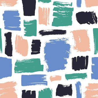 Motley seamless pattern with pink, black, blue and green brush strokes on white.
