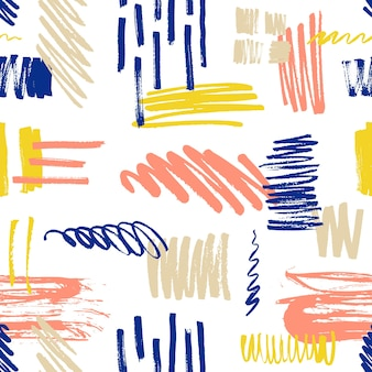 Motley seamless pattern with scribble and paint splotches or smudges.