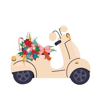 모토 꽃 배달 오토바이 좌석에 꽃다발